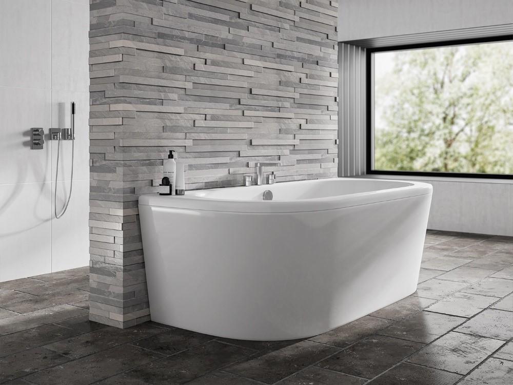 Dee Bath Back to Wall Bath Luxury Spa Whirlpool Bath /& One Piece Panel