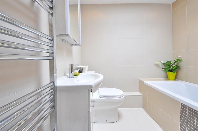 Heated towel rail in a bathroom