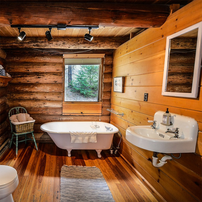 A log cabin bathroom