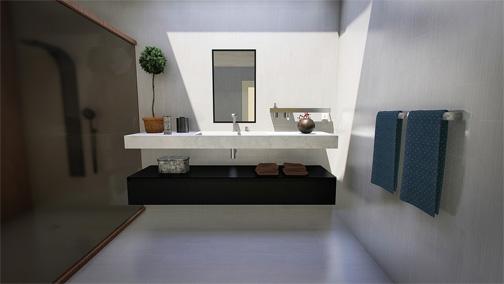 Bathroom basins and mirror