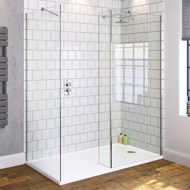 A contemporary white shower room