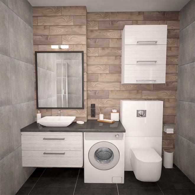 Bathroom with grey and stone coloured tiles