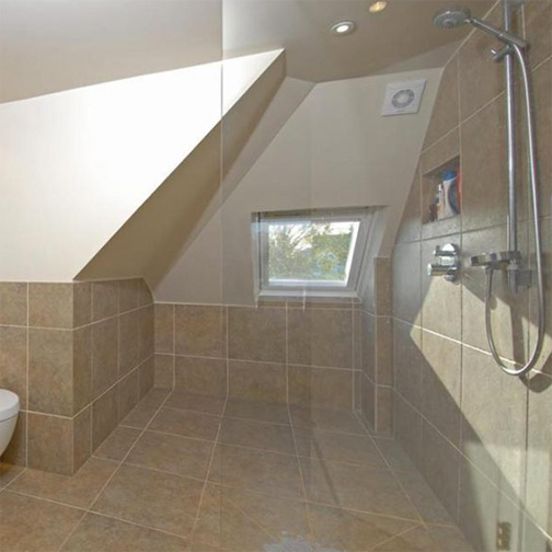 An open plan wet room