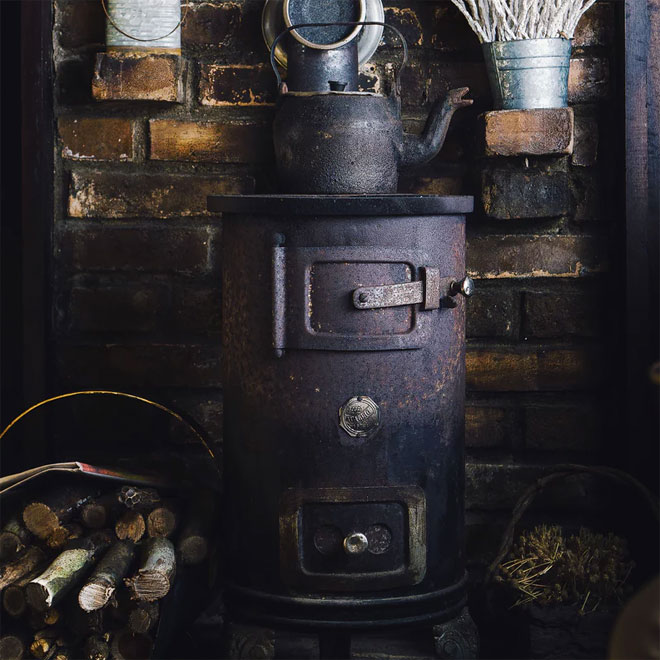 A wood fired burner