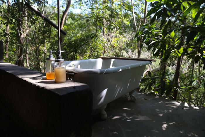 A freestanding bath outside