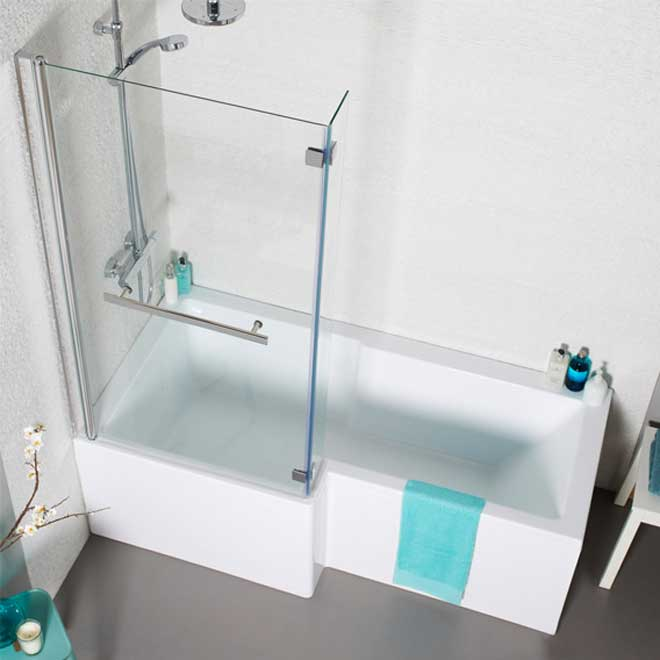 L Shaped Bath in white bathroom