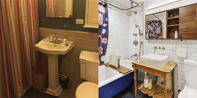 A traditional bathroom before and after transformation.