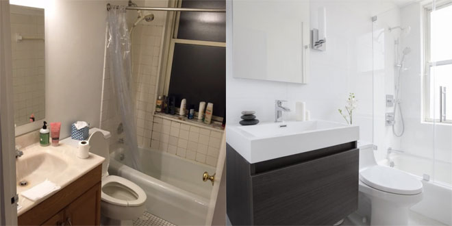 An old and dingy looking bathroom completely transformed into a white minimalist room.