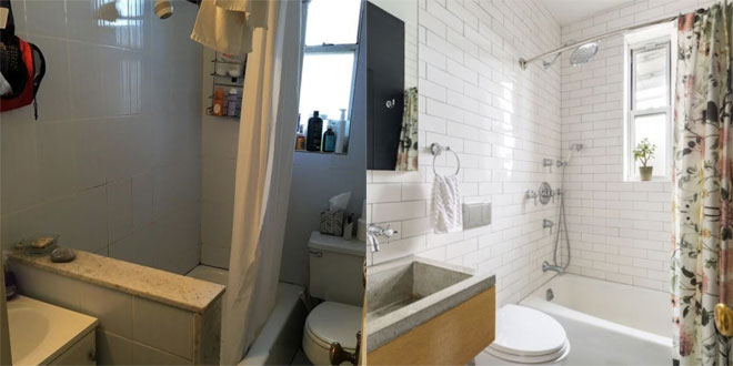 A small bathroom smartened up and changed lay out for a more practical room.