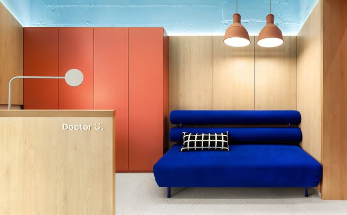 Beautiful bedroom in blue and orange from Ukraine
