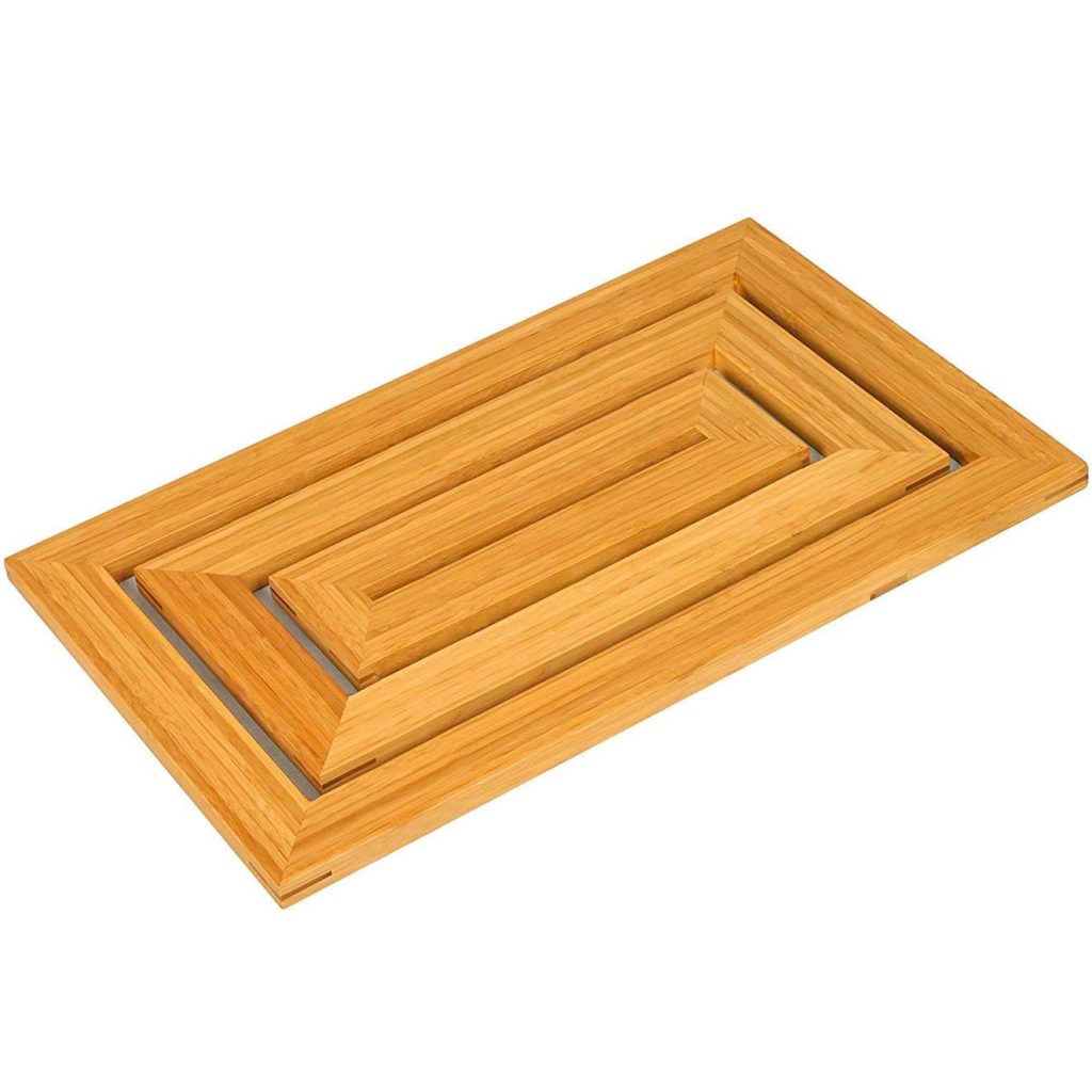 Wooden anti-slip floor mat for bathroom