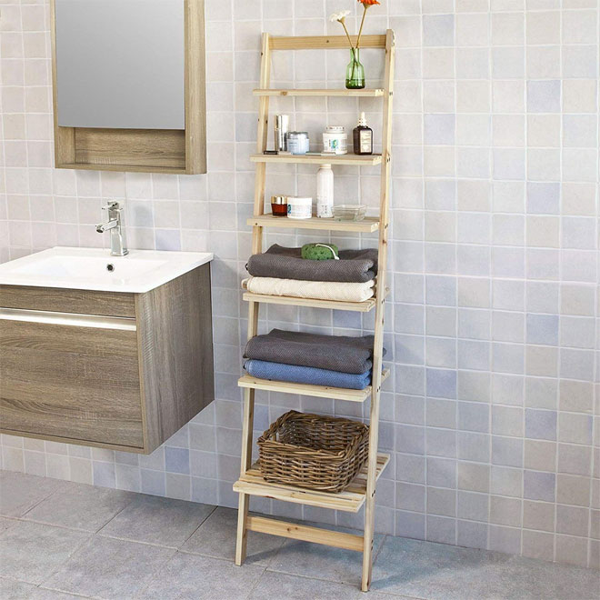 Wooden ladder shelf-unit for bathrooms