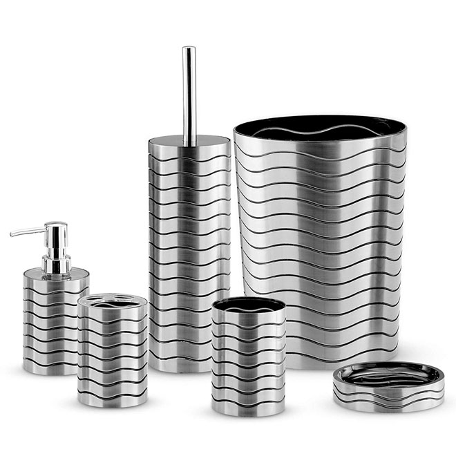 Metallic bathroom and sink accessory set