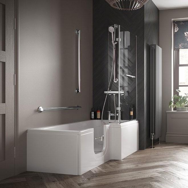 An easy access bath with a door in a contemporary grey monochrome bathroom