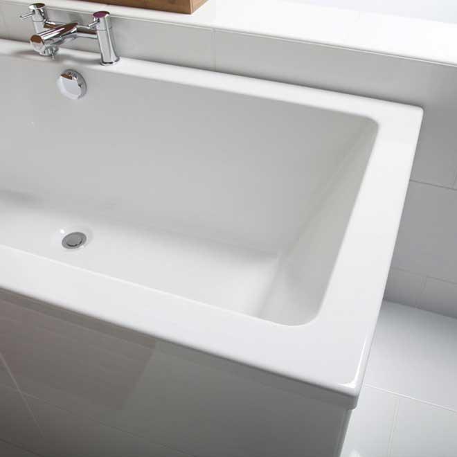 An extra deep soak bath in a bathroom