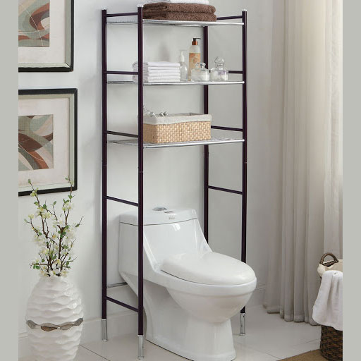 An Etagere shelving unit in a small bathroom maximising space over the toilet