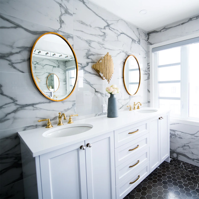 Luxury white marble bathroom with twin sinks