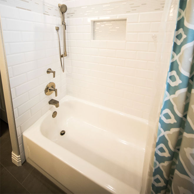 A bath with a shower attachment