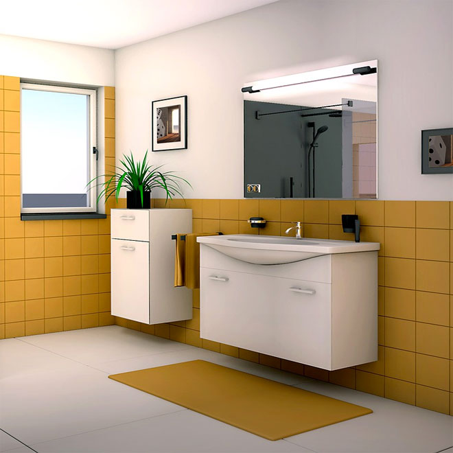 A bathroom with a yellow and white colour scheme