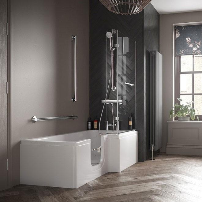 A bathroom featuring an easy access bath with door