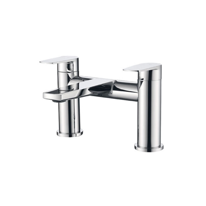 A chrome plated mixer tap with dual handles