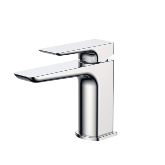 A chrome plated bathroom single lever mixer tap