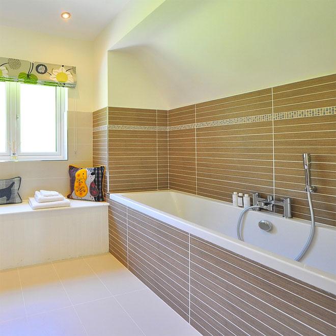 A long bath in a modern bathroom