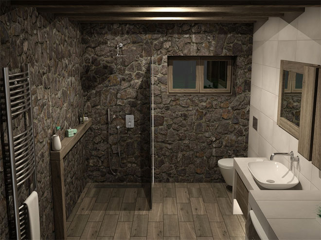 A wet room featuring stone walls, chrome heated towel rail and modern vanity unit.